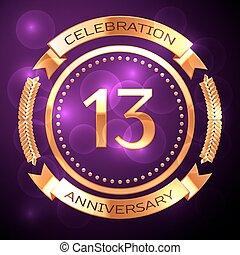 tredici, anni, celebrazione anniversario, con, dorato, anello, e, nastro, su, viola, fondo.