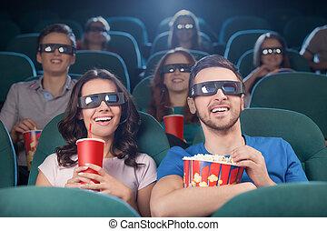 tredimensionell, åskådande film, cinema., folk, glad, bio, ...