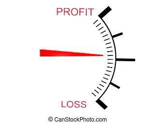tredimensionell, förlust, och, profit, mätare