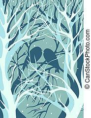 tredimensionell, image., silhouettes, par, av, älskarna, av, fåglar, sittande, på, den, bar, övervintra trees, in, snöig, väder