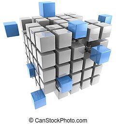 tredimensionell, kub