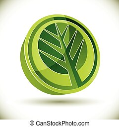 Tree 3d vector round icon isolated on white background.
