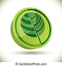 Tree 3d vector round icon.