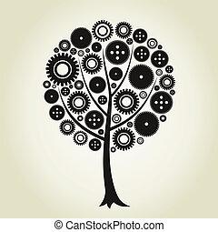 Tree a gear wheel - Tree from a gear wheel. A vector...