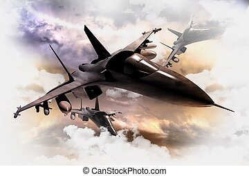 Fighter Jets in Action - Tree Air Force Fighter Jets in...