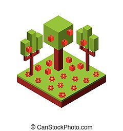 tree and apple icon. Isometric design. Vector graphic