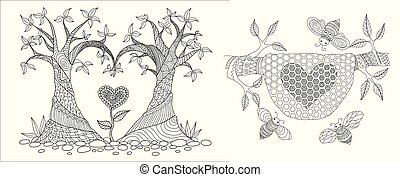 Trees bend into heated shape and swee bee hive for card, invitation, design element, wallpaper sticker, coloring book, coloring page or colouring picture. Vector illustration