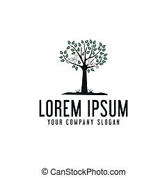 tree and bird logo design concept template