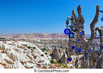 Tree and evil eye amulet in Cappadocia Turkey - nature...