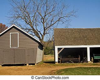Tree and Farm Sepia