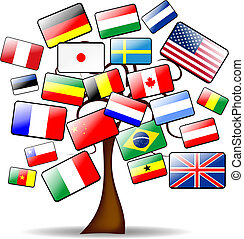tree and flags - background with the main tree and flags