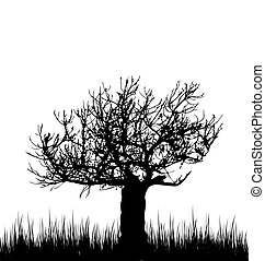 Tree and grass in silhouette are isolated on white background