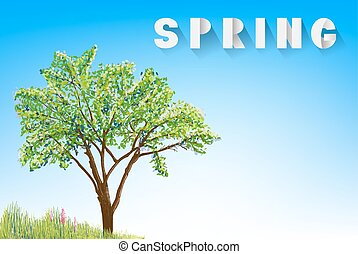 tree and grass with flowers drawing on sky with spring paper letters.