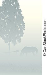 Tree and horse in fog.