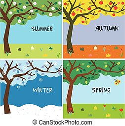 Tree and landscape in four seasons