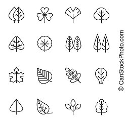 Tree and leaf line icons set. Natural stroke symbol, wooden trunk and outline branches for map.