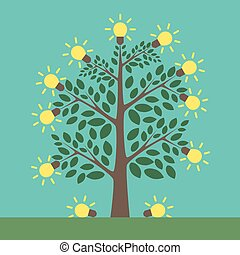 Tree of creative ideas with shining yellow lightbulbs on it and under it. Insight, inspiration, idea, invention and breakthrough concept. Flat style. EPS 8 vector illustration, no transparency