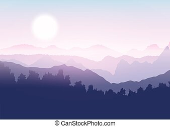 Tree and mountain landscape