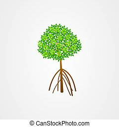 Tree and roots vector, mangrove tree illustration, mangrove plant