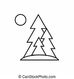Tree and sun icon, outline style
