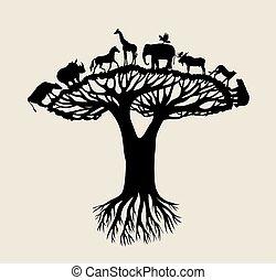 Tree Animal Silhouette