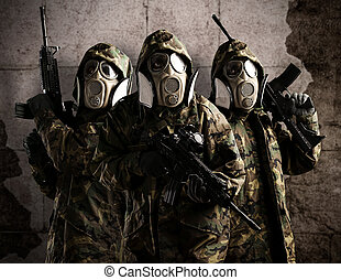 tree armed soldiers - Tree armed soldiers with gas mask and ...