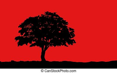 tree at hill silhouette vector illustration on red background