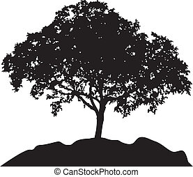 tree at hill silhouette vector - tree vector illustration...