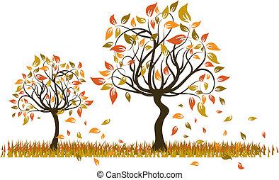 Tree autumn background, vector