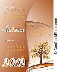 Tree autumn calendar 2012, vector