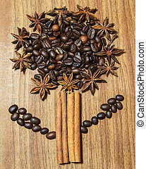 Tree background of coffee beans