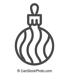 Tree ball line icon. Cristmas decoration vector illustration isolated on white. Tree globe outline style design, designed for web and app. Eps 10.