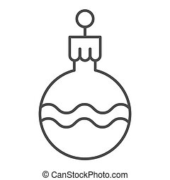 Tree ball thin line icon. Cristmas decoration vector illustration isolated on white. Tree globe outline style design, designed for web and app. Eps 10.