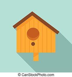 Tree bird house icon, flat style