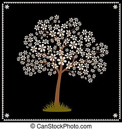 Tree blooming with white flowers. Stylized vector image.