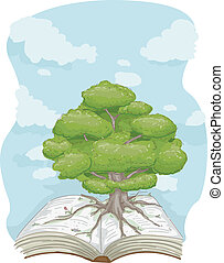 Tree Book - Illustration of a Tree Standing in the Middle of...