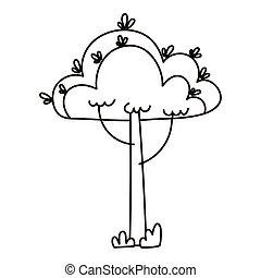 tree botanical foliage isolated icon line style