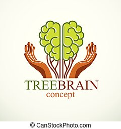 Tree Brain concept, the wisdom of nature, intelligent evolution. Human anatomical brain in a shape of green tree with carrying hands. Brain feeding with diet products. Vector logo or icon design.