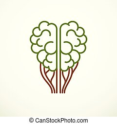 Tree Brain concept, the wisdom of nature, intelligent evolution. Human anatomical brain in a shape of green tree. Brain feeding with diet products. Vector logo or icon design.