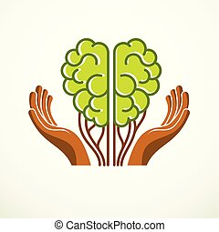 Tree Brain concept, the wisdom of nature, intelligent evolution. Human anatomical brain in a shape of green tree with tender careful hands. Vector logo or icon design.