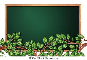 Tree branch on chalkboard banner
