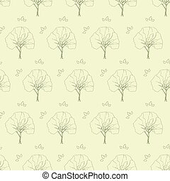 tree branch pattern green leaves vector seamless