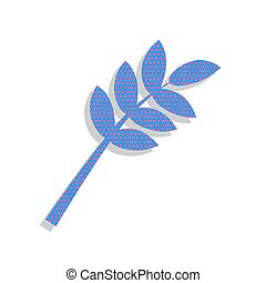 Tree branch sign. Vector. Neon blue icon with cyclamen polka dot
