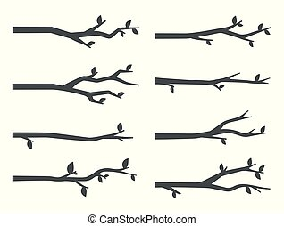 Tree branch silhouettes vector set