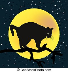 Tree branch with a cat in the moon background