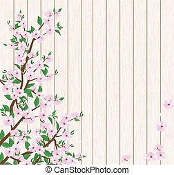 tree branch with flowers and leaves