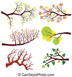 Tree branch with leaves and flowers. Vector set
