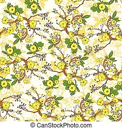 Tree branch with yellow flowers abstract nature plants pattern