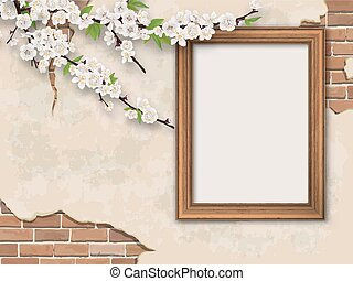 Tree branches and frame on vintage background