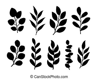 Tree branches with leaves silhouettes botanical set